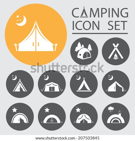 Tourist tent.Icon Set. Vector illustration. - stock vector