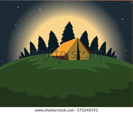 Tourist tent on a clearing located under the moon and stars on the background of wood. Vector. Stock illustration - stock vector