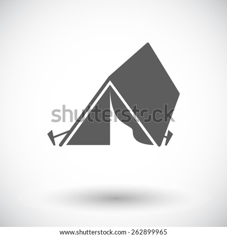 Tourist tent. Single flat icon on white background. Vector illustration. - stock vector