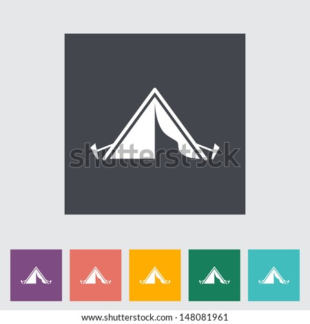 Tourist tent. Single icon. Vector illustration. - stock vector