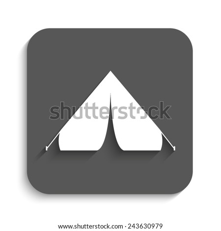Tourist tent  - vector icon with shadow on a grey button - stock vector