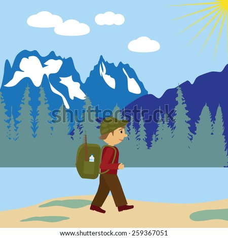 Tourist with backpack vector illustration. - stock vector