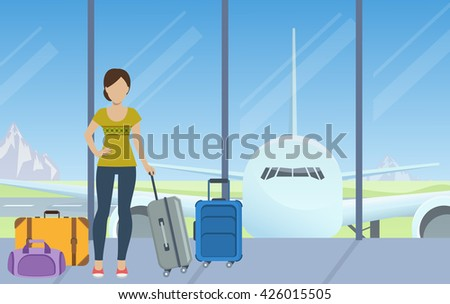 Tourist with luggage waiting for check-in at the airport. Vector. - stock vector