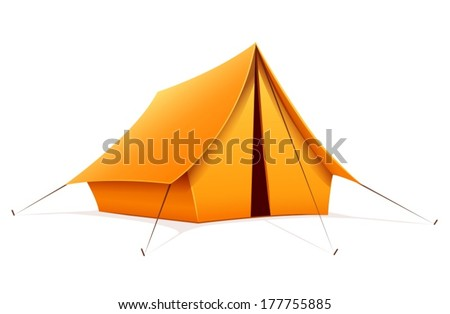 Touristic camping tent. Eps10 vector illustration. Isolated on white background - stock vector