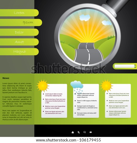 Touristic website design template with weather forecast - stock vector