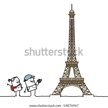 tourists & Eiffel Tower - stock vector