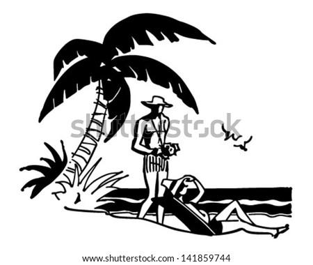 Tourists On Tropical Beach