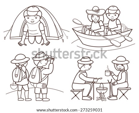 tourists travel (vector illustration set) - stock vector