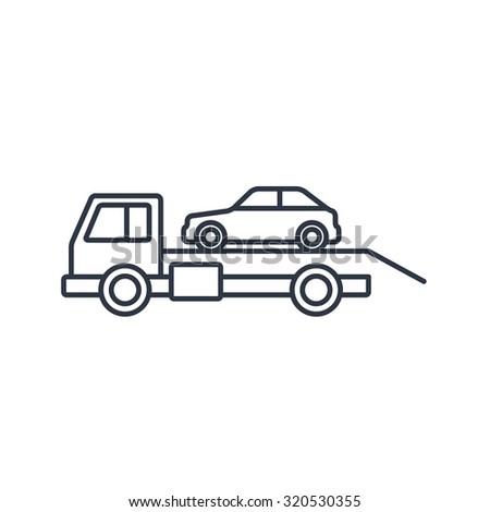 Tow car evacuation outline icon  - stock vector