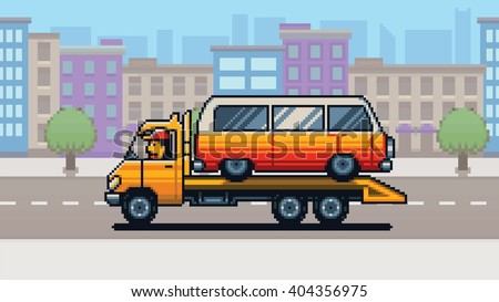 Tow truck and city background pixel art game style layer vector illustration - stock vector