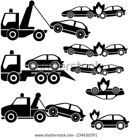 tow truck icons and car crash - stock vector