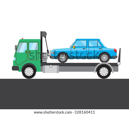 Tow truck with car on white and grey background. Vector illustration