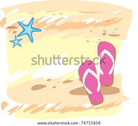 Towel, sandals, sunglasses and starfish at beach vector - stock vector