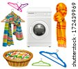 towel, scarf, basket, hangers and a washing machine on a white background - stock photo