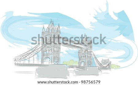 Tower Bridge color illustration - stock vector