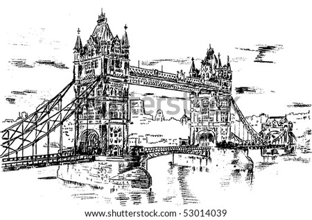 Tower Bridge - hand draw sketch illustration - stock vector