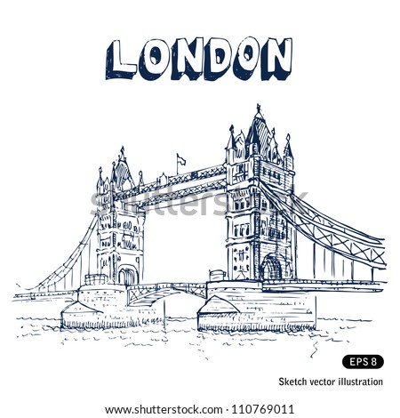 Tower Bridge in London. Hand drawn sketch illustration isolated on white background - stock vector