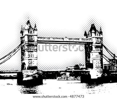 Tower Bridge - London - vector poster - stock vector
