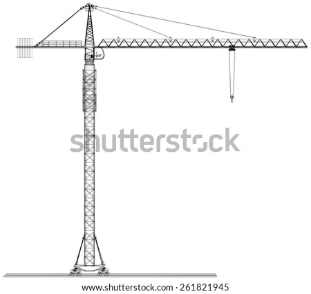 Tower construction crane. Detailed vector illustration isolated on white background. Vector rendering of 3d - stock vector