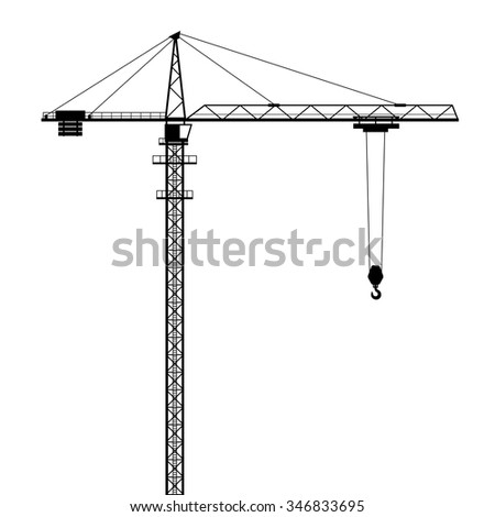 Tower crane vector shape isolated on white background. - stock vector