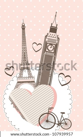 tower eiffel and tower clock over pink background. vector