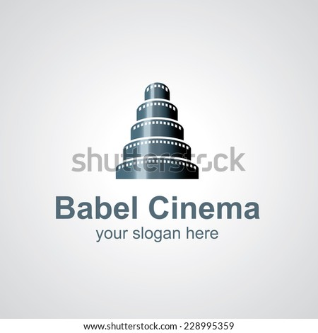 Tower of Babel from film vector logo design, icon idea for cinema brand - stock vector