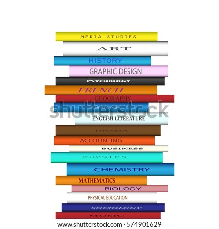 Tower of books with different college course titles