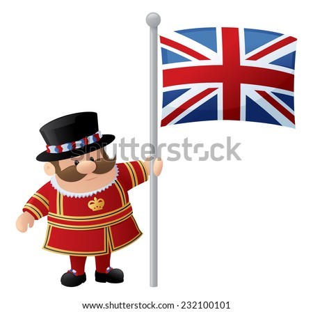 Tower of London Guard or Beefeater holds Union Jack.