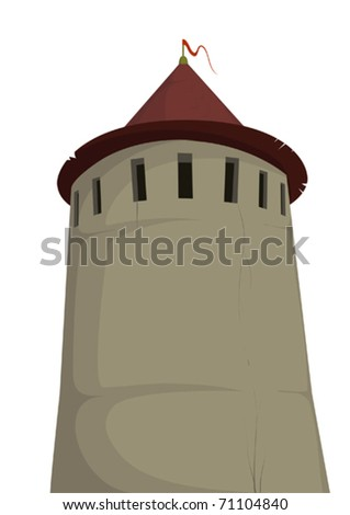 Tower of old fortress - stock vector