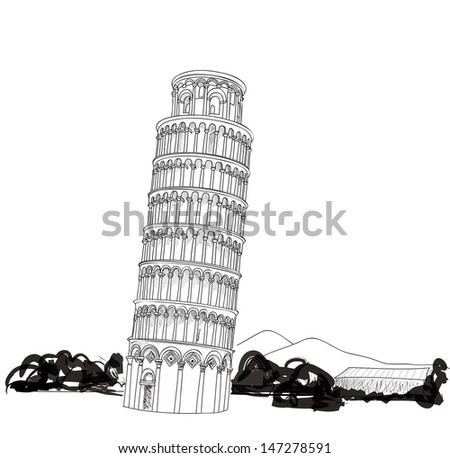 Tower of Pisa with landscape hand drawn vector illustration. Leaning Tower of Pisa, world heritage in Pisa, Tuscany, Italy