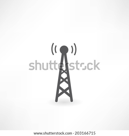 tower with radio waves icon - stock vector