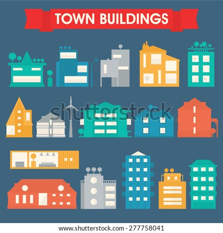 Town and city buildings and houses collection - stock vector