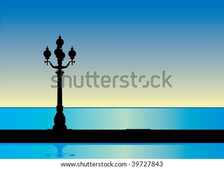 town and the sea electric city lights  lamp sunrise vector lamp post - stock vector
