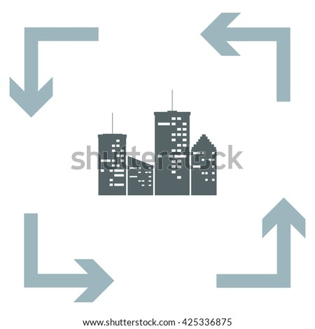 Town at Night vector icon - stock vector