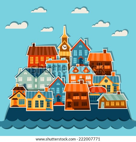 Town background design with cute colorful sticker houses. - stock vector
