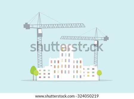 town building - stock vector