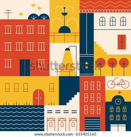 Town building vector illustration flat design