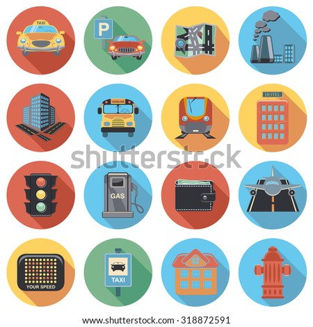town flat circle icon set - stock vector