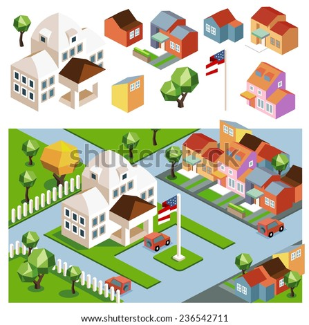 Town hall and the environment. flat isometric vector - stock vector