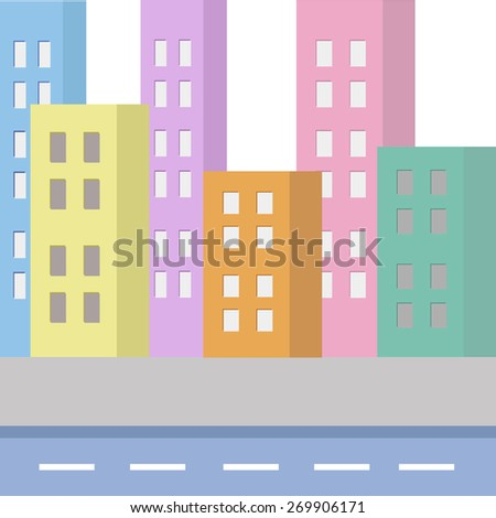 Town houses, pastel colors - stock vector