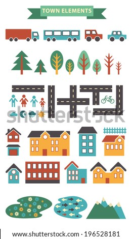 Town infographic elements. Vector city elements for create your own city map. Create your own town!  Map elements for your pattern, web site or other type of design.Vector illustration - stock vector