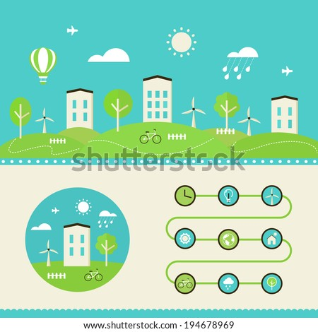 Town Landscape. Eco Living Infographics Elements