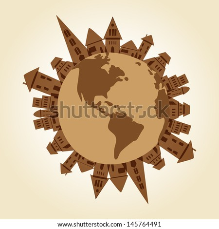 Town of Earth recycle buildings concept over the world. EPS10 file version. This illustration contains transparency and is layered for easy editing. - stock vector