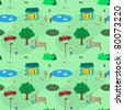 Town of kids seamless pattern for girls - stock vector