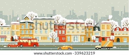 Town panoramic cityscape with snowfall. Seamless winter city street background in flat style - stock vector