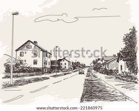 Town road with car sketch Vector illustration