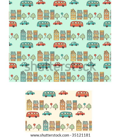 Town seamless  vector repeat pattern