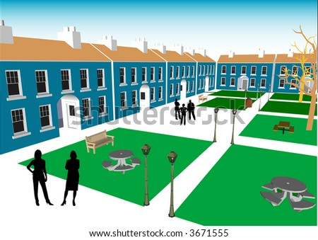 Town Square - stock vector