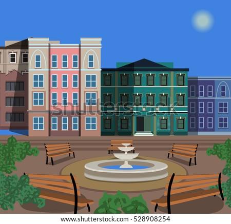 Town Square Stock Vector 528908254 - Shutterstock