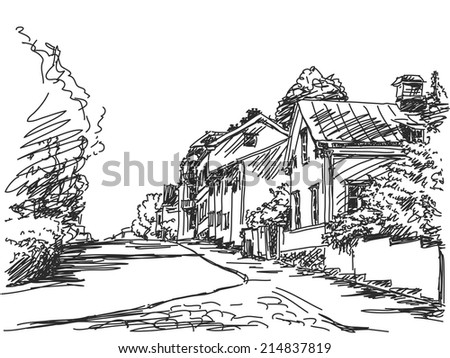 Town street House sketch Vector illustration
